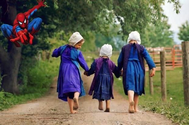 three-amish-girls