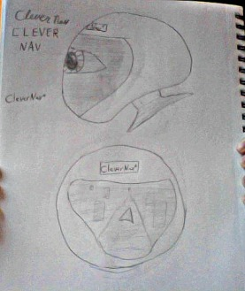 A small diagram of the CleverNav I sketched out. Above is the eye and side view, below is the map and front view.